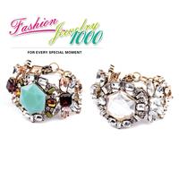 New Brand Vintage Multicolor Stone Tortoise Fan Fringe Chain Link Women bracelets bangles Fashion Flower Jewelry Wholesale