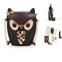 Fashion Women Synthetic Leather Handbag Owls Cross Stitching Shoulder Bag SKG03