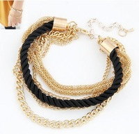 Min order $10 (mix order)Fashion black luxury braided multilayer bracelet alloy bangle fashion jewelry