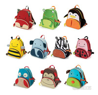Canvas double-shoulder kindergarten school bag kids cartoon school bag animal backpack zoo pack for children