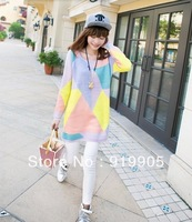 Free shipping Korean version of the fresh geometric candy mixed colors sweater