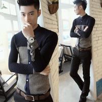 2013 male slim long-sleeve shirt stripe shirt thickening shirt thermal shirt