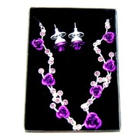 Elegant lavender necklace,earrings one set, novelty gift, 3.16119.Max Ring,Free shipping