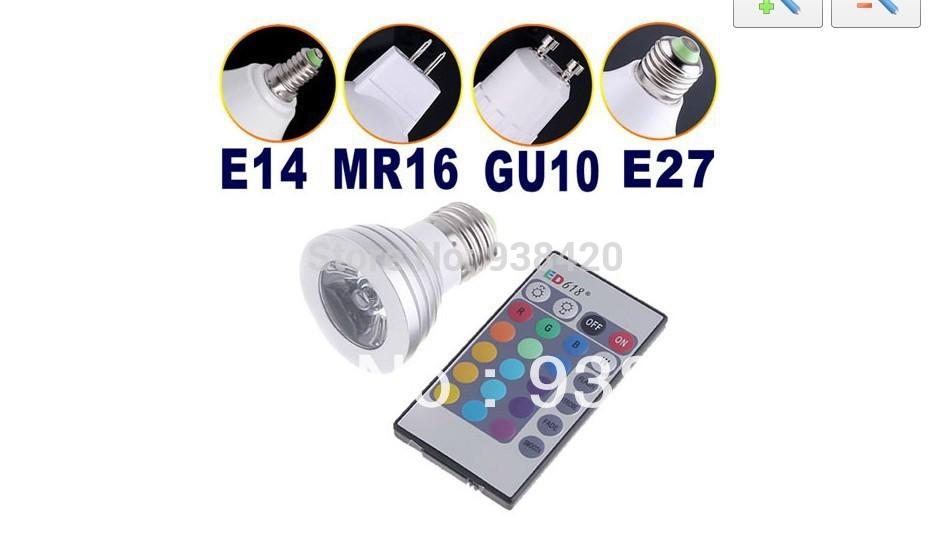 Wholesale 6W RGB LED Spotlight GU10 MR16/E27//E14 16 colour High Tech LED Lamp Spot light + IR remote control(China (Mainland))