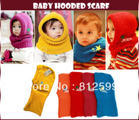 Free Shipping! Fashion Cute Quality Baby Hooded Scarf Knitted Neck Warmer Warm Shawl Hat Cap for Toddler Children Kids Boy Girl