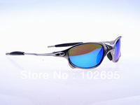 Free shipping  JULIET Sports Cycling Aluminum Alloy Frame UV 400 Protection Polarizing Sunglasses - Silver + blue