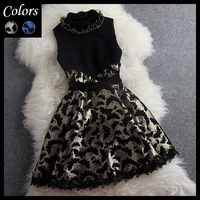 2013 autumn winter women's dresses blue golden butterfly embroidered flower lace stand collar fashion vintage cute brand dress