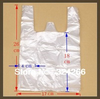 Wholesale 17*26cm White FOOD Vest Handle Plastic Bag / Shopping Bag plastic bags with handle 100pcs/lot