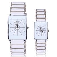 Dropship luxurious japan movement brand quartz watch white rectangle stainless steel belt watches lovers men women best gift