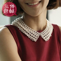 2014 new fashion Quality handmade all-match pearl false collar vintage collar peter pan collar necklace female black white