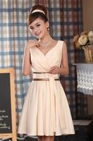 Fashion bride short design bridesmaid dress champagne color V-neck formal dress short marriage design weeding dress