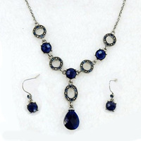 Deep blue ocean heart necklace,earrings one set, novelty gift, 3.16123.Max Ring,Free shipping