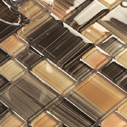 glass tile kitchen backsplash bath wall tiles mosaic bath square brown