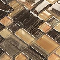 Glass tile kitchen backsplash bath wall tiles mosaic bath square brown liners crystal discount gradient free shipping tiles
