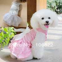 Pet Puppy Dog Clothes Formal Gown Suit Set Wedding Girl Princess Dress Clothes LX0077 Free shipping&DropShipping