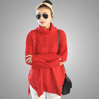 Casual Loose Cable Knitted Red Sweaters 2013 Winter Autumn Fashion Turtleneck Split   Big Sized Pullover Knitwear for Evening