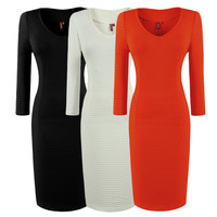 2015 spring winter red black casual Women Business office work long sleeve midi Pencil Bodycon women's vintage warm Dress 722