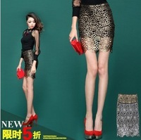 2013 female luxury vintage gold cutout flower lace perspective skirt slim skirt bust skirt  jl