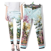 Branded design  Spring Autumn  Ink printing   Print Fashion Women Pants Casual Harem Loose Female Lady