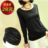 2013 spring and autumn milk, silk long-sleeve T-shirt loose plus size brief all-match women's basic shirt top