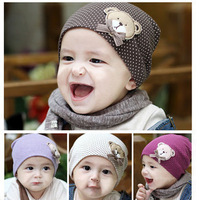 10pcs/lot can mix color size free kids beanies with bear wholesale