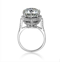 Vintage Jewelry Ring Wedding Band For Women 5 Carat Brilliant Cut NSCD Simulated Diamond Engagement rings Plated White Gold Ring