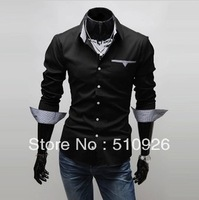 The new 2013 lined with thin patch men long sleeve shirt
