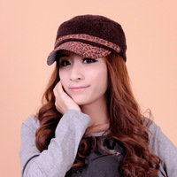 Hat female winter leopard print villus cadet cap knitting wool hat knitted hat