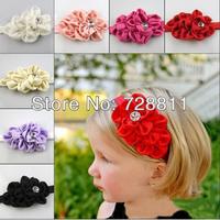 FREE SHIPPING   Baby Girl flower Hair accessories Girl  Rhinestone elastic Headband Children fashion Hair band 1pcs