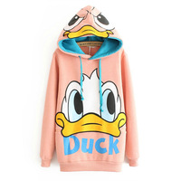 Winter loose plus size cartoon pullover with a hood fleece sweatshirt outerwear female medium-long sweatshirt