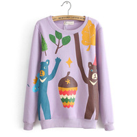 2013 autumn and winter cartoon print loose pullover sweatshirt fleece o-neck young girl sweatshirt