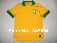 New 2013/14 best Thailand Quality Brazil home yellow T glue and side hole Player issue Soccer Jersey Free shipping Size: S-XL