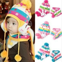 Free size under 5y kids Bomber Hats and scarf set wholesale 10pcs/lot can mix color
