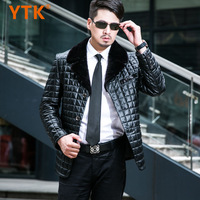 Men's clothing 2013 winter male genuine leather clothing sheep shearing turn-down collar sheepskin down coat