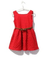 2-8Y 2014 new summer baby&kids dress,european american style girl's designer dress fashion lace brand new kids dresses with belt