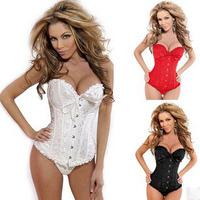 Black Sleepwear Sexy Women Lace Tops Steel Bustier Lingerie Overbust Corset Dresses (S,M,L,XL,2XL,3XL,4XL,5XL,6XL) bow lingerie