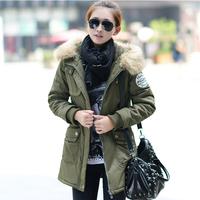 Winter women's 2013 medium-long slim fur collar thickening cotton-padded jacket clothes wadded jacket down cotton-padded jacket