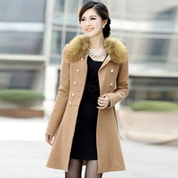2013 Winter Fashion Women Woolen Trench Double-breasted Fur Collar Coat Outwear 4 Colors M L XL 18508