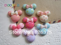 35pcs/lot New Arrival Wholesale Minnie with Bow, Resin Flatback Flat Back  Cabochons for Hair Bow Center, DIY Free Shipping