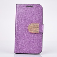 Free Shipping Fashion Glitter Bling Crystal Silk Leather Flip Cover Case With Buckle  For SamsungGalaxy SIII I9300