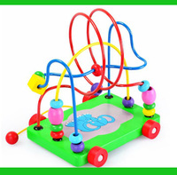 Cartoon elephant trailer beads around maze puzzle wooden toys drag beads around the car Early childhood education TOYS & GIFTS!