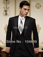 Top selling  Wholesale - High Quality Black Groom Tuxedos Groomsman Suits Best man Suit (jacket+pants+waistcoat+tie)