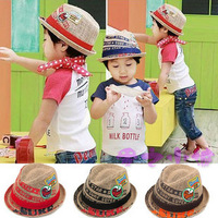 Cool! Linen children summer fedoras with print 10pcs/lot wholesale