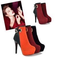 Big size 34-43 new 2013 womens high heel shoes 12cm winter boot platform flashion ankle leather boots martin  pumps J1423