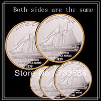 1839 year Roger baldwin john quincy adams coins,Free shipping 20pcs/lot Sailing ship 1oz Silver amistad Amistad cinque coin