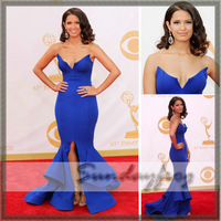 Free Shipping Custom Made Rocsi Diaz V-Neck Mermaid Satin Floor-Length Strapless Emmys Red Carpet Celebrity Dress