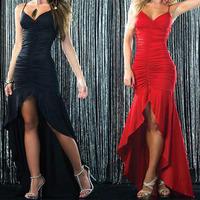 Vestidos de fiesta 2014 Red Long Sleeve Halter High Low Prom Dress off the Shoulder Sleeveless flooer length women dress