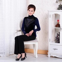 New arrival winter tee shirt women elegant sweat 2013 long sleeve lace blouse formal office lady plus size slim velvet top