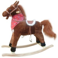 HOT-selling  Children with music toy Trojan Trojan horse wood base band music mouth moving tail moving