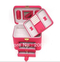 Free Shipping Wholesale Fashion Leather Jewelry Box Princess Jewelry Storage Box Wedding and Birthday Gift